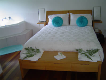 A photo of the bed, as it was after we arrived