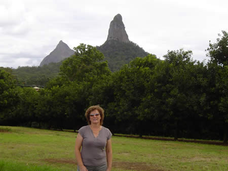 A great view of Mt Coonowrin and Mt Beerwah (behind it)