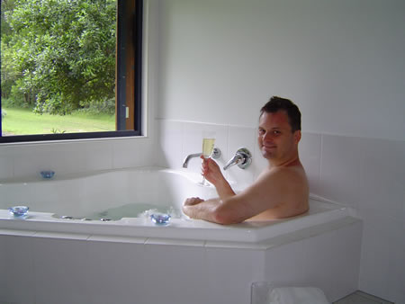 Bryan in the spa with some bubbly