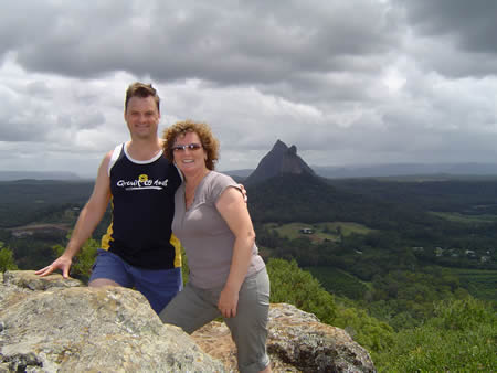 Maureen and I on top of Mt Ngungun with Mt Coonowrin and Mt Beerwah behind us