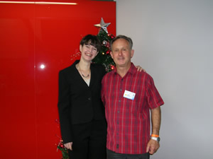 A photo of Melissa with my dad. Melissa will often be found smiling like this.
