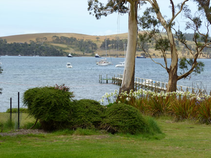 This is a view from Frank's backyard and shows the Jetty he has access to and the other side of Triabunna