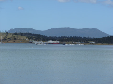 A photo of Maria Island from the backyard of Frank's place