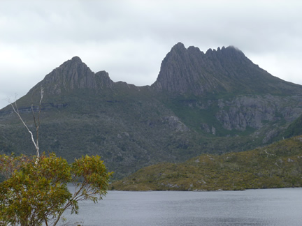 Cradle Mountain Zoomed In From Large Rock