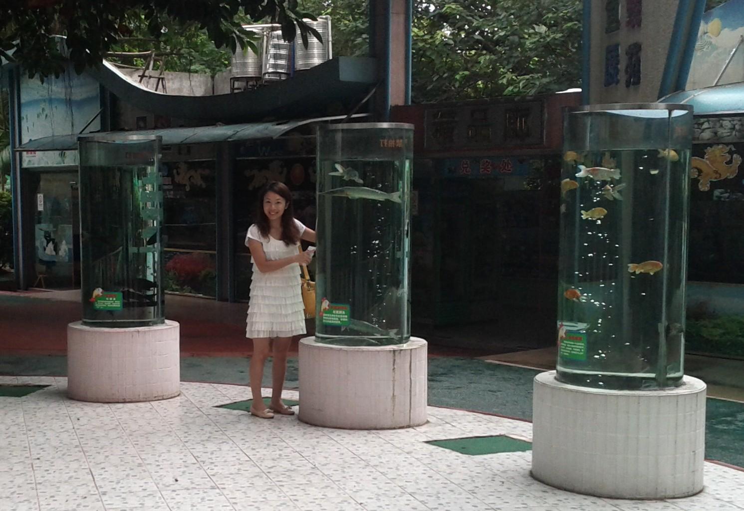 Yoyo with some gold fish at Guangzhou Zoo
